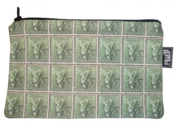Pencil Case 18x10cm Koala Stamps Green