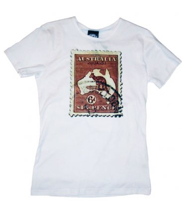 T-Shirt White Cotton Kangaroo Stamp 6d