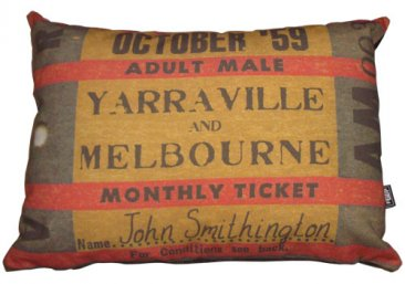 Cushion 50x36cm Personalised Old Monthly Ticket