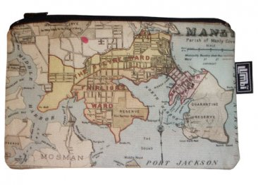 Pencil Case 18x10cm Manly Old Map