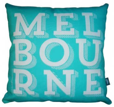 Cushion Melbourne Text Turquoise