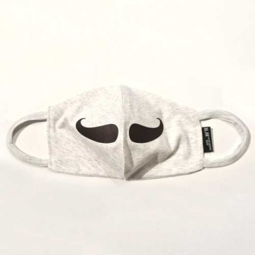 Face Mask Moustache Print White Marle Fabric
