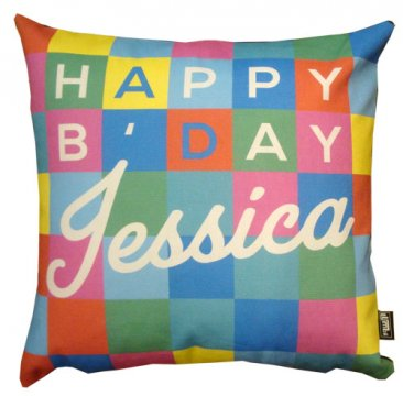 Cushion Personalised Birthday Coloured Squares