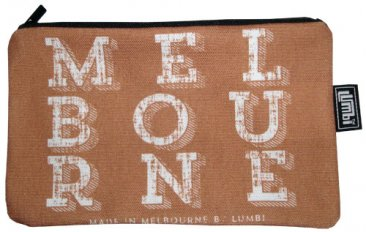 Pencil Case 18x10cm Melbourne Text Vintage Choc White Text