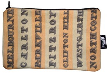 Pencil Case 18x10cm Destination Stripes with Vintage Text