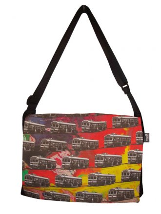 midi Satchel Bag 33x25x7cm Trams on Spilt Ink
