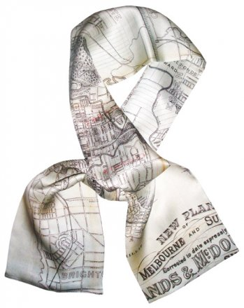 Silk Scarf 150x16cm Melbourne Map Sands & MacDougall 1885