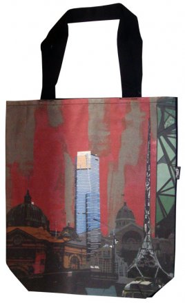 Large Tote 40x30x10cm Melbourne Collage