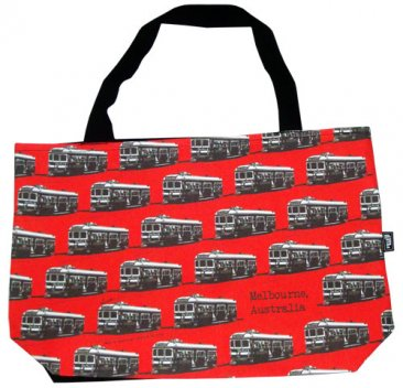 Shopper Bag 30x40x10cm Trams Red