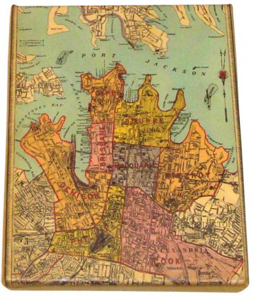 Art Canvas 20x25cm City of Sydney 1885 Map
