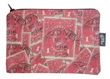 Pencil Case 18x10cm Pence Stamp Red