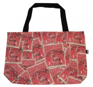 Shopper Bag 30x40x10cm Pence Stamp Red