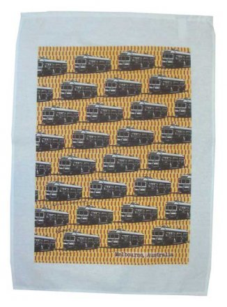 Tea Towel 50x70cm Linen/Cotton Trams Yellow