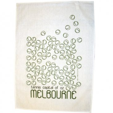 Tea Towel 50x70cm Linen/Cotton Melbourne Tennis Capital Green