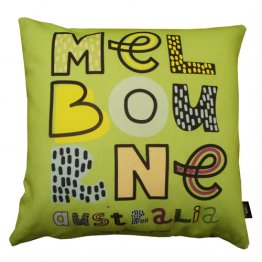 Cushion Funky Melbourne Text (Various Colours)
